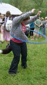 hula hooping with fox tail