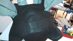 back view of seams in felt