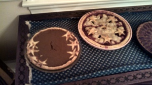Finished pies: Pumpkin Apple Butter and Cherry