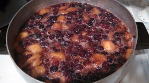 Blackberries and figs, a-boiling away on the stove. It smelled heavenly.