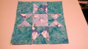 Ohio star pattern, with bunny fabric - this will be a throw pillow for the downstairs living area.