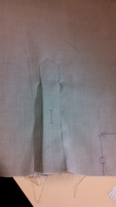 Outside view of the finished cuff placket