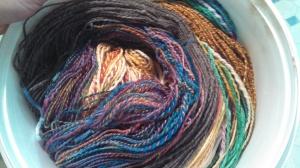 a pile of yarn, awaiting their bath