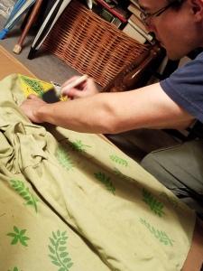 Stenciling Nick's shirt