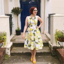 lemon dress on steps